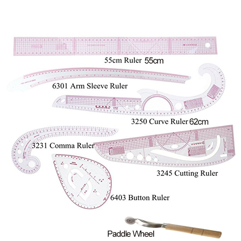Looen Multi Function Curve Ruler Drawing Line Straight Sewing Clothing Rulers Sleeve Arm Curve Cutting Ruler Button Comma Set (10)