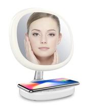 Интеллектуальное зеркало для макияжа Настольный светодиодный светильник ing светильник косметическое зеркало с телефоном Беспроводная зарядка время шоу Макияж инструмент