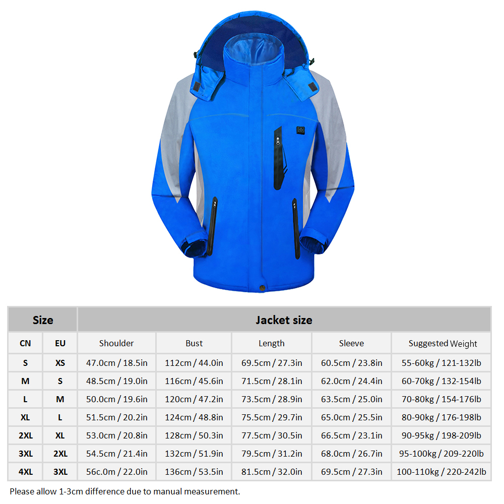 Women Men Heating Coat Chargeable Electric Heated Jacket Snowmobile Motorcycling Skiing Climbing Snow Sport Winter Warm Jacket