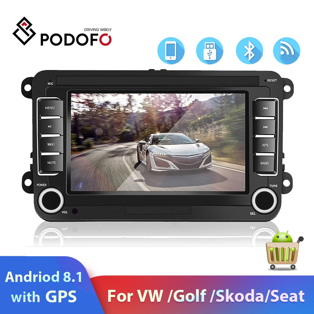 "Podofo 2 Din Car Player Autoradio 7"" VW Android 8.1 GPS Wifi 2 din"
