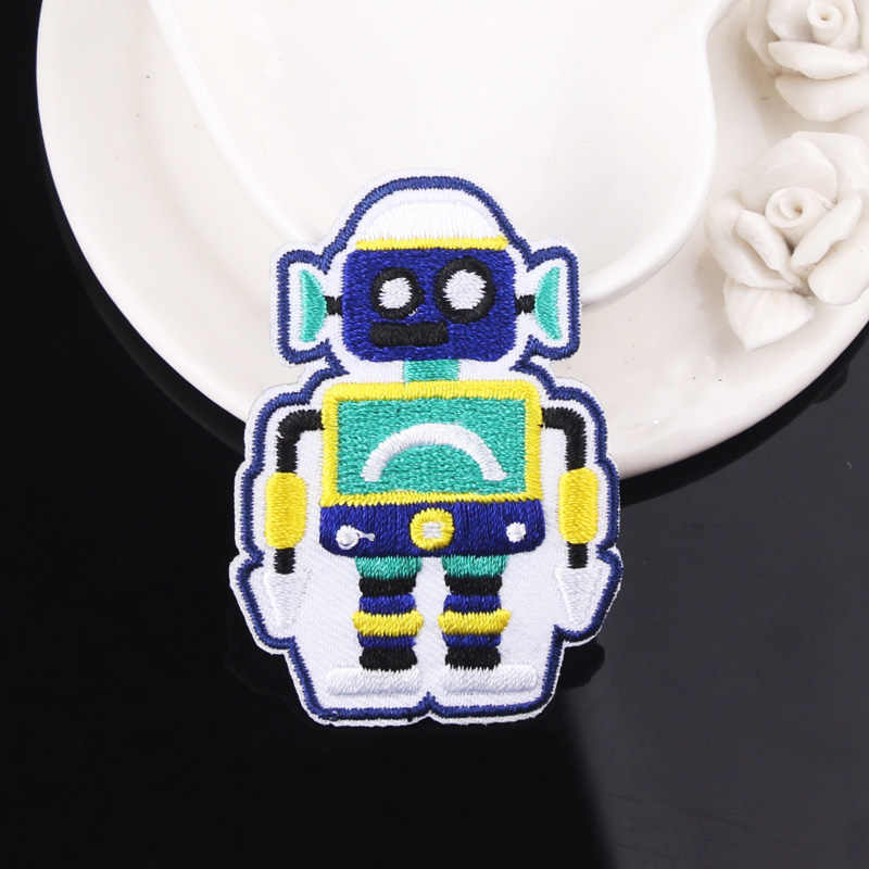 سفينة الفضاء التصحيح UFO الغريبة التصحيح الكرتون روبوت المطرزة بقع للملابس الحديد على بقع على الملابس قوس قزح المشارب شارات
