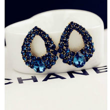 2019 New Fashion Brincos Perlas New Girls Earing Bijoux Blue Zircon Stud Earrings For Women Wedding Jewelry Earings One Directio(China)