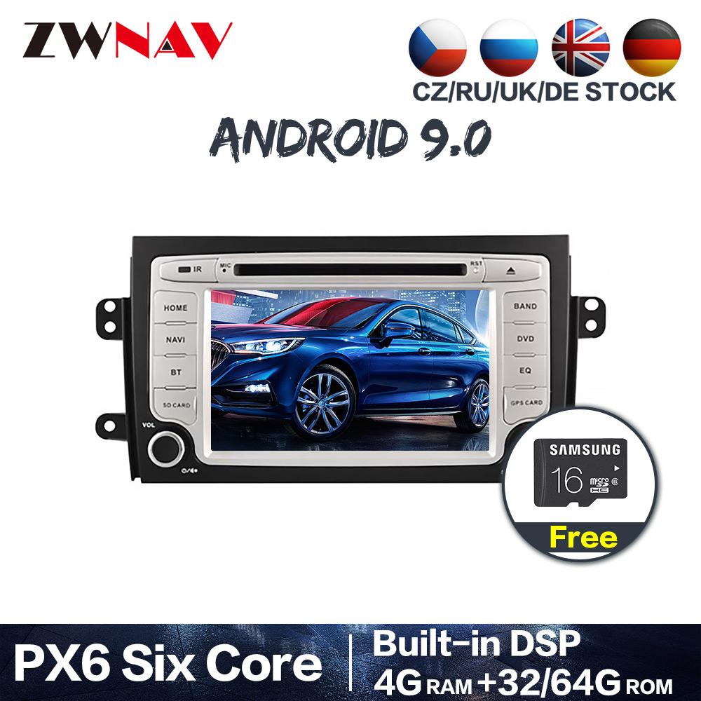 PX6 DSP IPS 4G+64G Android 9.0 Car GPS Navi Radio Audio stereo For <font><b>Suzuki</b></font> <font><b>SX4</b></font> 2006-2010 DVD multimedia Player head unit free map image