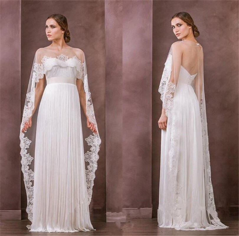 New Lace Shawl Mesh Appliqué Small Tail Long Cape Bridal Cloak For Bridal Warps