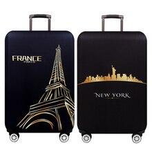 Нью-Йорк, Париж, утолщенный багажный Защитный чехол, 18-32 дюйма, багаж на колесиках, дорожная сумка, чехлы, эластичный защитный костюм, чехол Чехол 271