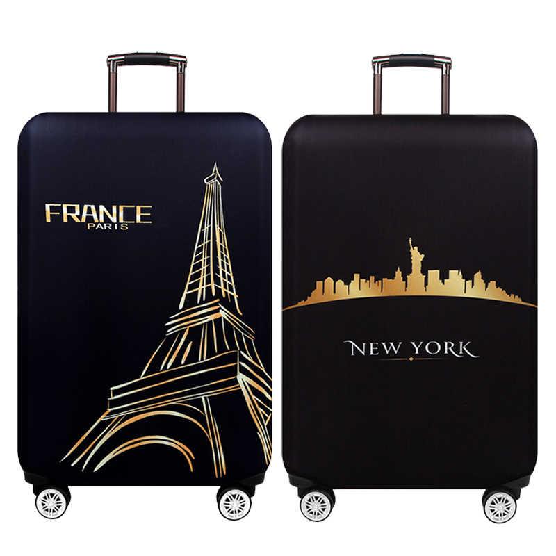 NEW YORK PARIS Thicken ป้องกันกระเป๋าเดินทาง 18-32 นิ้วรถเข็นสัมภาระกระเป๋าเดินทางครอบคลุมยืดหยุ่นป้องกันกระเป๋าเดินทางกรณี 271