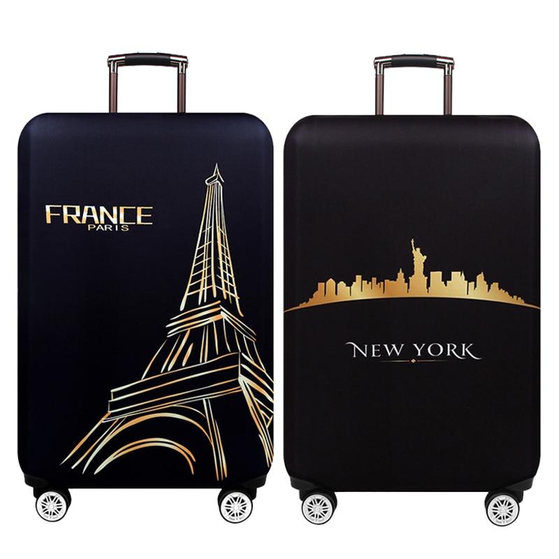 Nueva York París Thicken cubierta protectora de equipaje 18-32 pulgadas carretilla equipaje bolsa de viaje cubre funda de maleta de protección elástica 271