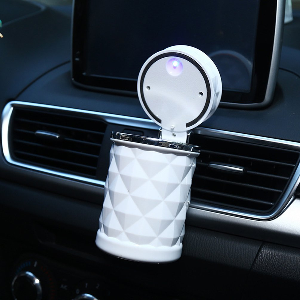 Diamond Facet Car Ashtray Car Ashtray With Led Light Car Ashtray Auto Supplies LED Light Cigarette Ashtray White