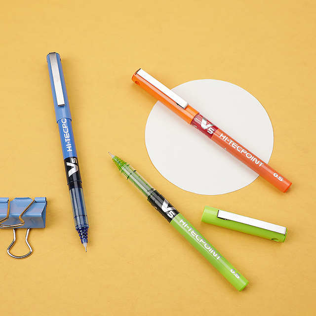 12 PC  Pilot V5 HI-TECPOINT 0.5 mm Needle point Extra Fine Point Liquid Ink Roller Ball Pen 3