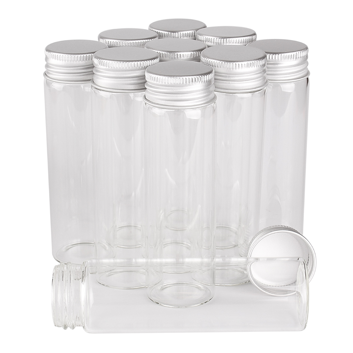 48 Pieces 50ml Glass Bottles with Aluminum Lids <font><b>30</b></font>*100mm Glass Jars for Wedding Crafts Gift image