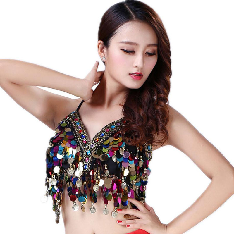 Sequin Wrap Chest Lace Up Bra Hanging Metal Coin Stage Performance Fringe Belly Dance Top