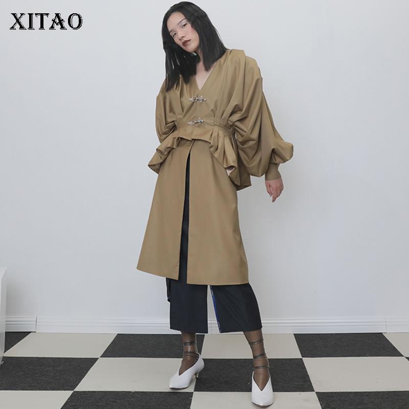 XITAO Detachable Two twin style Bat Sleeve   Trench   Coat for Women Pleated Long Coat Women Personality Windbreaker Autumn XJ2285