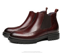 Fashion Black / Wine Red Mens Dress Boots Genuine Leather Boots Mens Ankle Boots