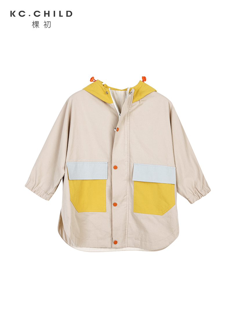 KC.Child 2020SS Latest Children's Cotton Color-matching Soft Windproof Hooded Trench Coat Kid's Windbreak Coat Age 2-15Y