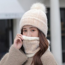 Thick Corduroy Winter Hat scarf Set for Women Kitted  ring Scarves Keep Warm Men Unisex Winter hat Female set metallic letters circle ring decorated corduroy graphic hat