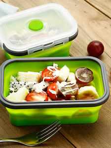 Duolvqi Salad Storage Container Dinnerware Lunch-Box Food-Box Fruit Foldable Silicone