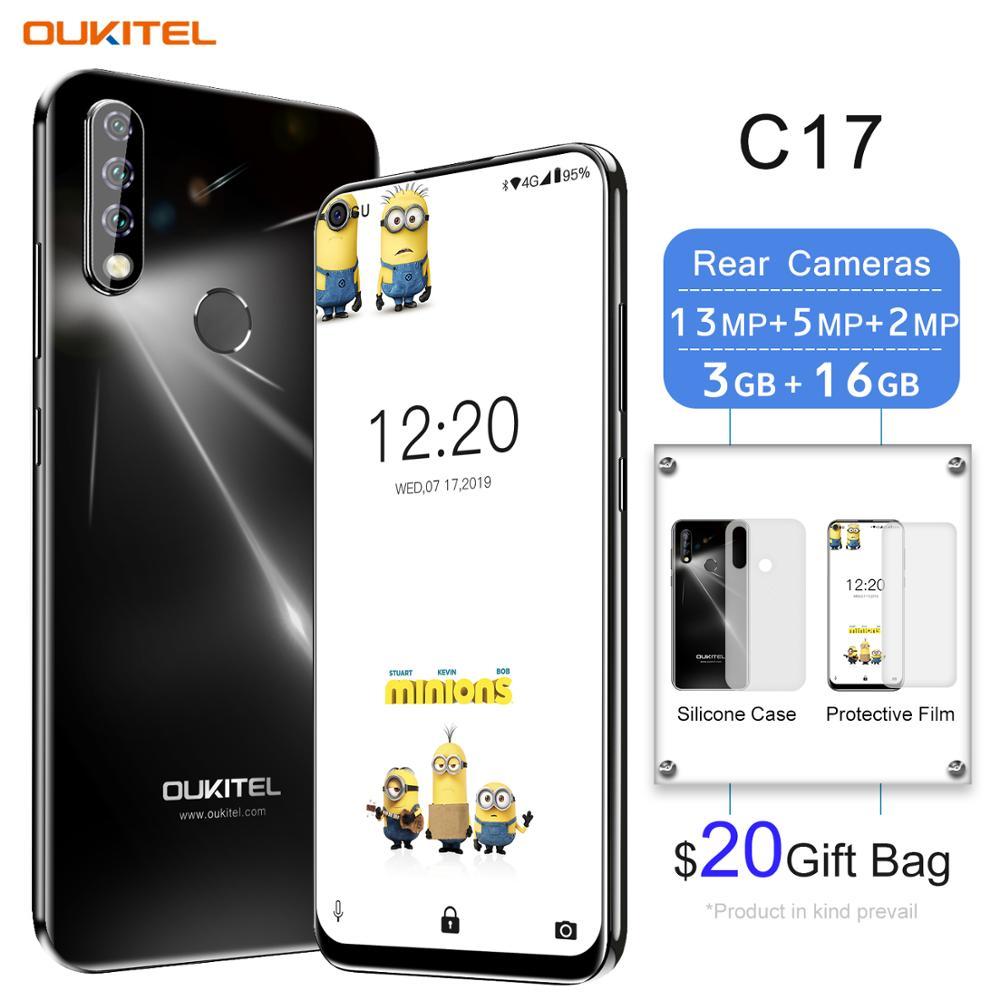 OUKITEL C17 6.35'' Triple Camera Smartphone MT6763 Octa Core Android 9.0 3GB 16GB Face ID Fingerprint 4G Mobile Phone 3900mAh