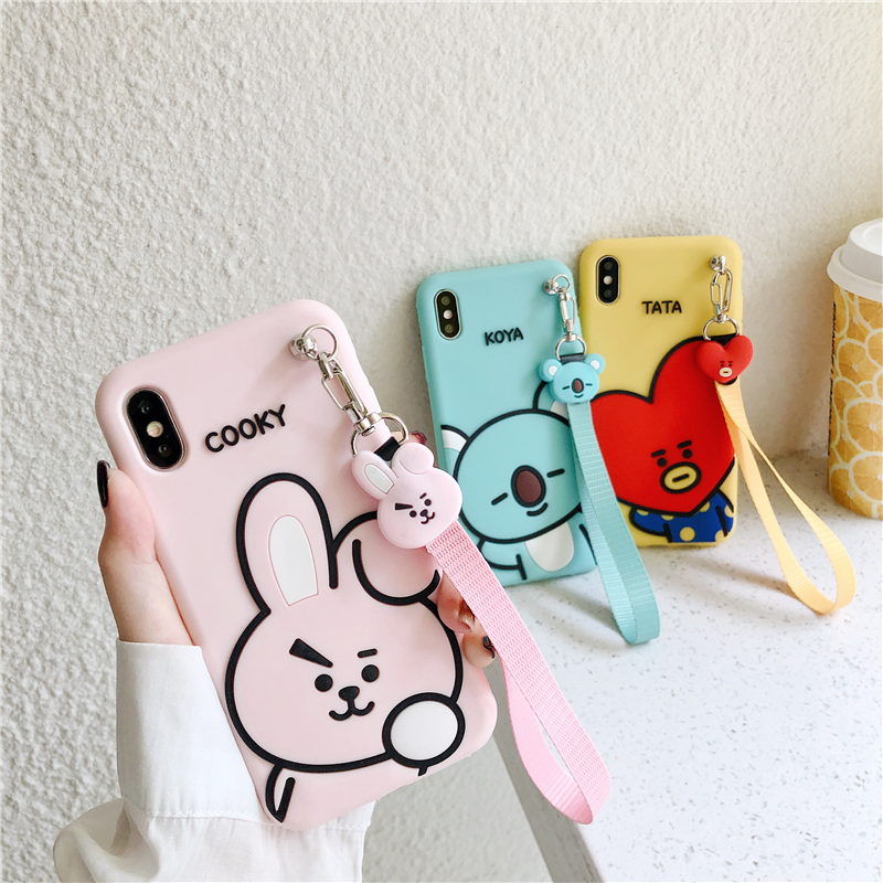 Luxury Cute Cartoon BT21 Soft Silicone Phone Case For Iphone X XR XS 11 Pro Max 6S 7 8 Plus Wrist Strap Phone Cover Gift Coque