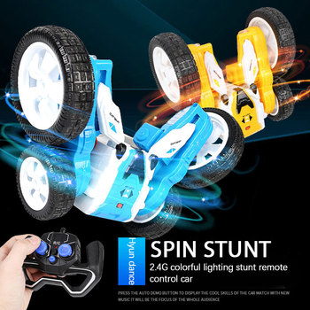 Wireless Remote Control Double-sided Stunt Car Deformable And Long-lasting Battery Life, Luminous Children's Stunt Rotating Toy image