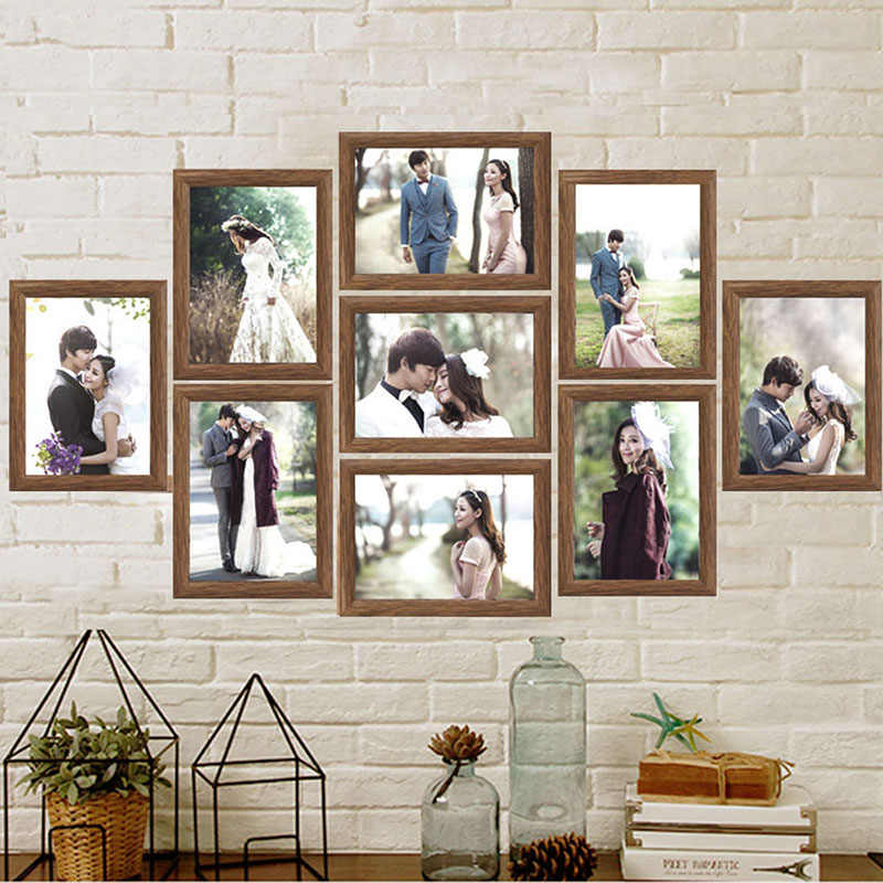 9pcs Lot Wooden Wall Picture Frame Set