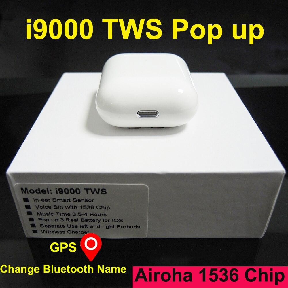 I9000 TWS capteur intelligent sans fil écouteur GPS pour IOS changer Bluetooth nom écouteurs Pop-up écouteurs Pk i100000 i200 i90000 TWS