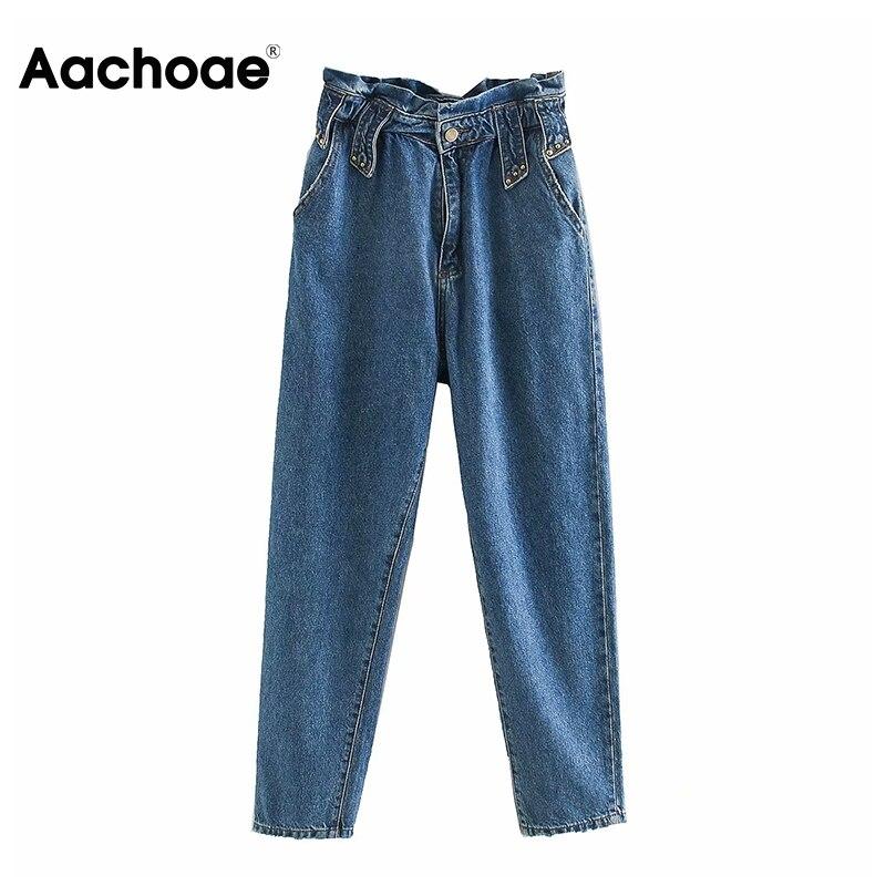 Aachoae Women Streetwear High Waist Mom Jeans 2020 Loose Pockets Long Trousers Female Pleated Harem Denim Pants Pantalones