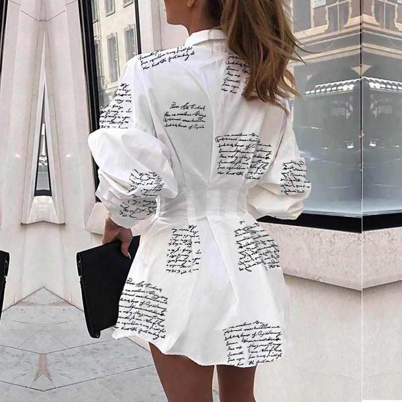 Осеннее женское платье с принтом ананаса и надписью 2019, платье-рубашка с длинными рукавами, женские мини-платья с принтом, женский сарафан, туника, пляжная