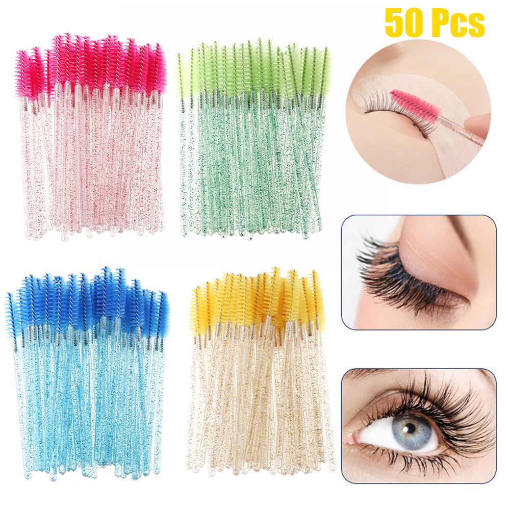 50Pcs Disposable Crystal Eyelash Brush Mascara Wands Applicator Grafting Eyelash Curling Comb Beauty Makeup Tool Eye Lash Brush