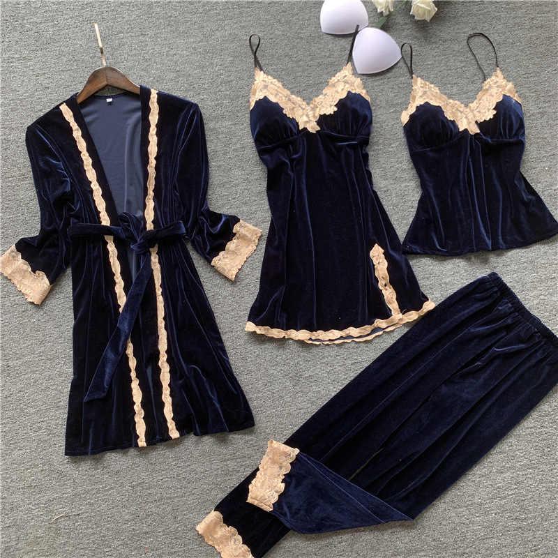 4PCS Robe Set di Velluto Della Signora Kimono Accappatoio Dell'abito Degli Indumenti Da Notte Del Merletto Del Velluto Sexy Casa Vestaglia Autunno Inverno Caldo di Notte vestito