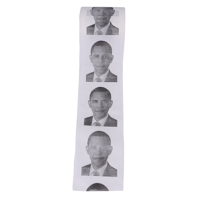 Funny Printed Toilet Paper 1 Roll Obama Gift Tissue Living Room Bathroom D2TA