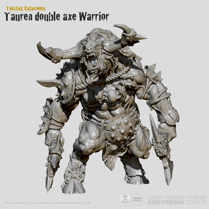 <font><b>75mm</b></font> <font><b>Resin</b></font> Figure <font><b>Kits</b></font> Minotaur double-axe warrior <font><b>resin</b></font> <font><b>model</b></font> Self-assembled TD-2179 image