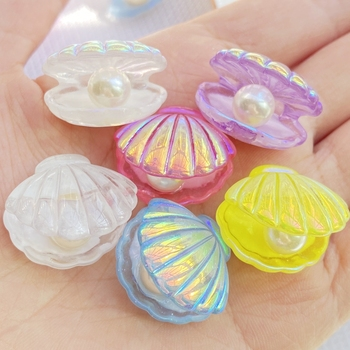 10 Uds. De conchas de perlas chapadas en colores Kawaii, cabujón para libro de recortes de resina con reverso plano, accesorios de decoración de joyería artesanal DIY E74