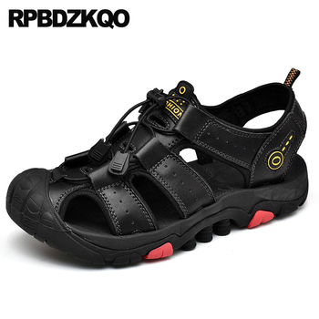large size waterproof beach fashion flat black outdoor water 2019 plus leather brown sandals designer shoes men high quality 46