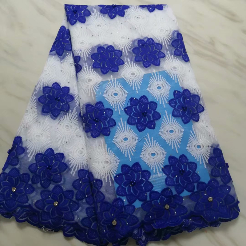 New Arrival Blue Nigerian Lace Fabric 2019  High Quality French African Tulle Net Lace Fabric With Stones For Wedding Dress