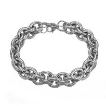 Male Bracelet Jewelry Silver for Men Oval Curb Chain Stainless Steel Link Fashion Decor Gifts
