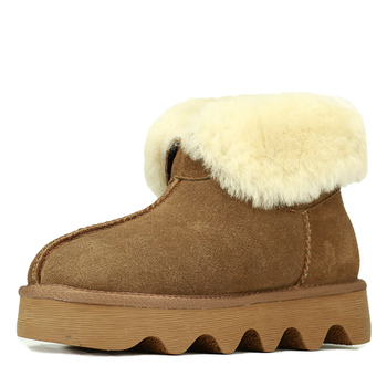 GOGC 2018 Snowshoes Women's Winter Boots with Wool Warmful Fur-Lined Ankle Boots for Women Genuine Leather Winter Shoes 9727