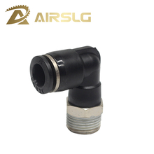 цена Black copper nickel plating Pneumatic Fitting Elbow PL4-01 PL6-M5 PL6-01 PL8-02 10-02 Air Hose Connector Air Fittings pneumatic