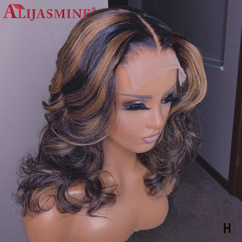 Honey Blonde Highlighted Wigs For Women Peruvian Remy 13x6 Lace Front Human Hair Wigs Ombre Colored Body Wave Wigs