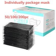 Mascarilla desechable para adultos, máscara facial de color negro para Halloween, Cosplay, embalaje independiente, Pm2.5, filtro facial, 50 Uds.