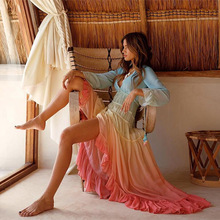 Ladies Summer Casual Boho Maxi Dress Women Gradient Rainbow Ruffles Pleated Beach Irregular Dress Mesh Chiffon Sundress XXL rainbow color maxi pleated dress page 1