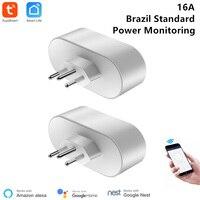 2 pçs brasileiro wifi tomada inteligente vida app controle remoto brasil padrão inteligente tomada 16a monitor de energia temporizador google compatível|Módulos de automação residencial|   -