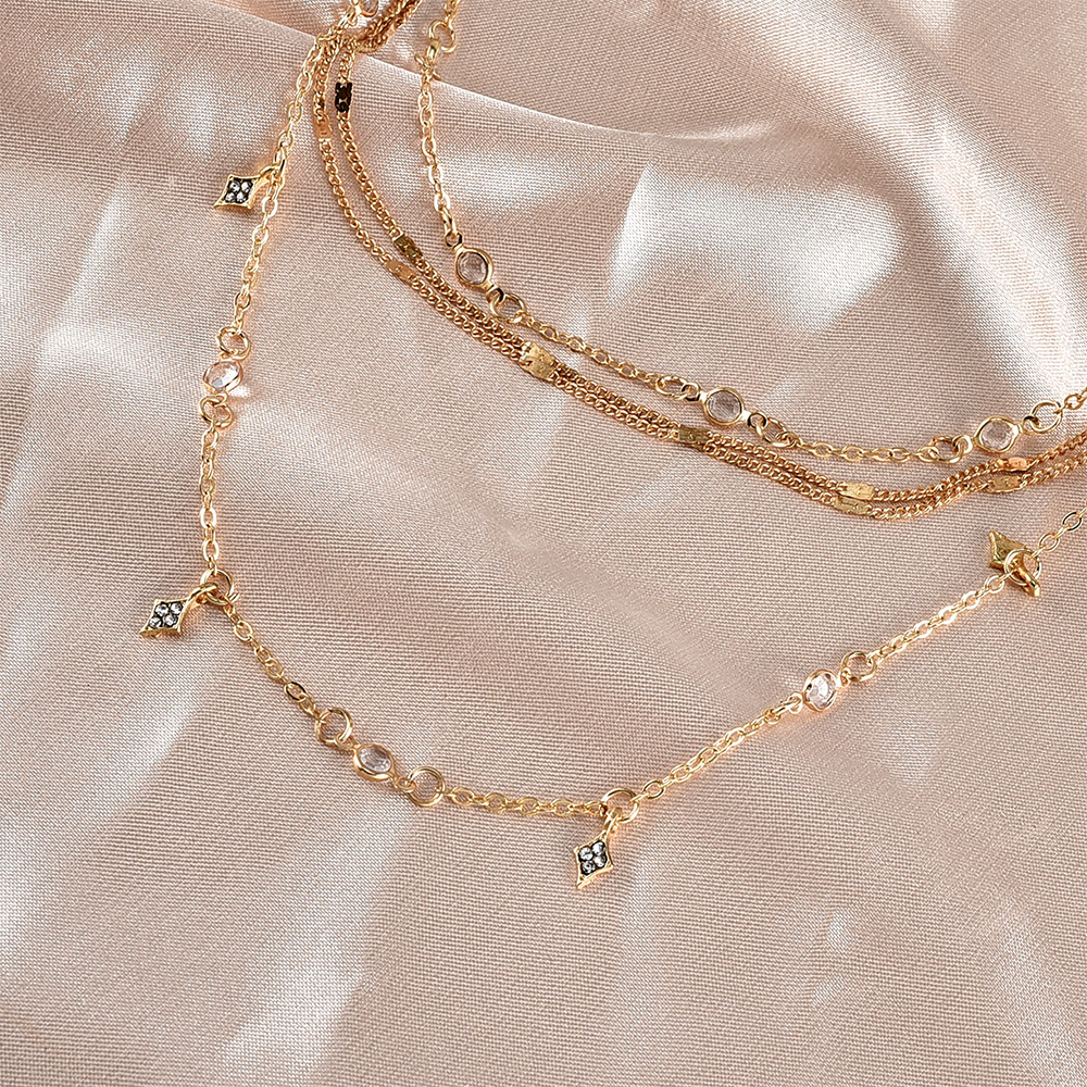 New Fashion Gold Crystal Stars Pendant Necklaces For Women Necklace 2020 Multilevel Female Boho Vintage Jewelry Wedding Gift