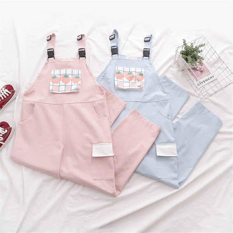 Harajuku Kawaii Strap Pants Women Sweet Plaid Strawberry Print Leisure Trousers Female Pink Overalls Girls Cute Vintage Jumpsuit