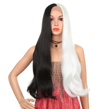 Long Wave Cosplay Wigs White/Black lace front synthetic wigs Natural Hair Party Wig for Wom