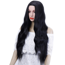 WTB Long Lavy Black Red Hair Pure Color Women Wigs Heat Resistant Synthetic with Bangs for African Natural
