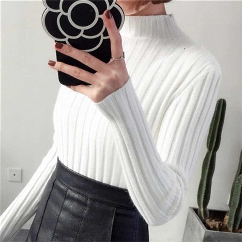Thick Turtleneck Slim Stripe All Match Fashion Warm Knitted Sweater Pullover Autumn Knitwear Sueter Mujer Long Sleeve Women New