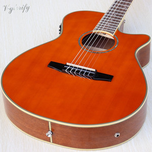 Image 2 - orange color Flamenco guitar thin body classic guitar cutway design high gloss finish 39 inch with EQ tuner function