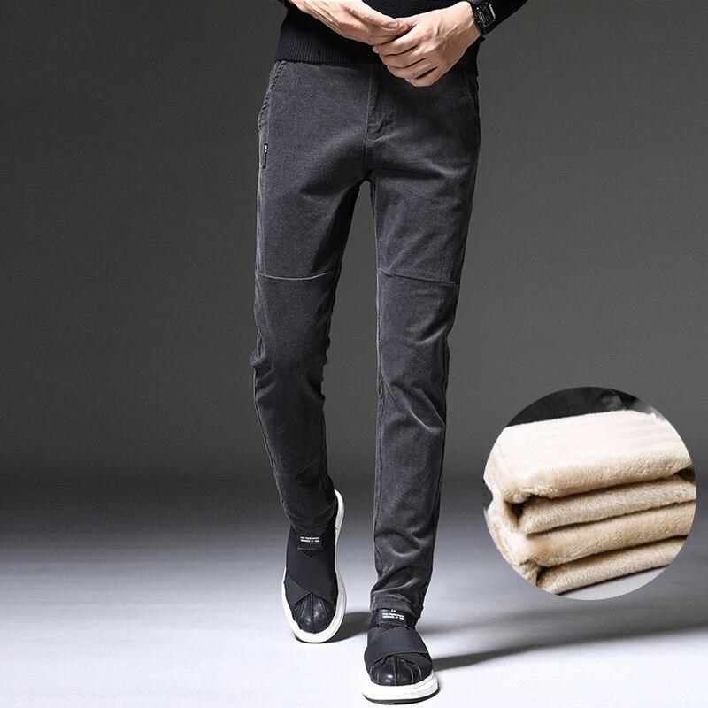 Fashion Classical Winter Jeans Men Gray Black Coffee Color Casual Velvet Corduroy Pants Men Korean Slim Fit Warm Pencil Pants