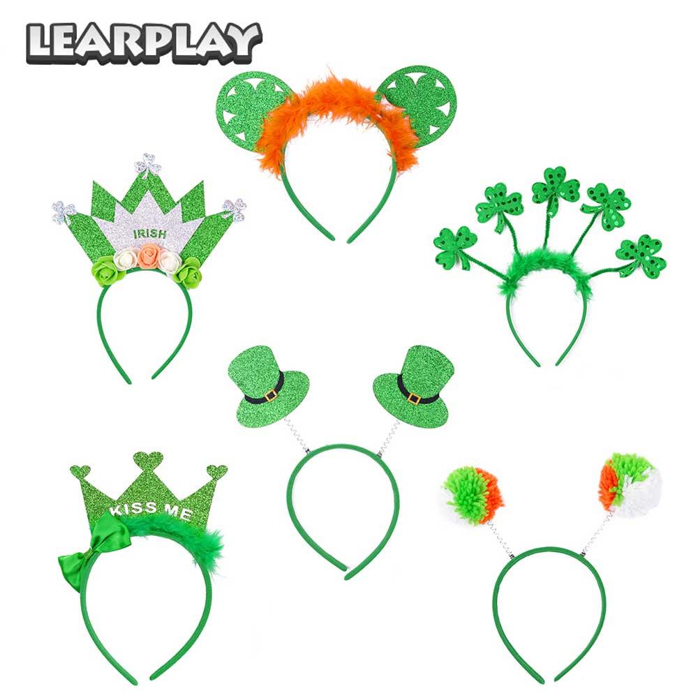 Saint Patrick trèfle bandeau carnaval irlandais vert chapeau jour couronne bandes de cheveux pour hommes femmes filles mignon St Paddy fête accessoires