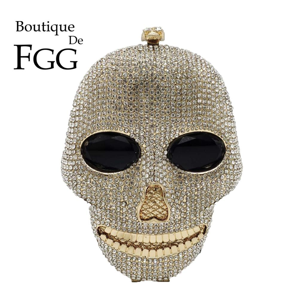 Boutique De FGG Fashion 3D Skull Face Shape Women Evening Handbags And Purses Party Cocktail Ladies Crystal Clutch Bag